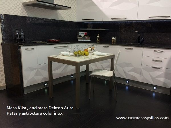 Mesa cocina extensible con encimera en Dekton aura precios y ofertas en nuestra web : www.tusmesasysillas.com