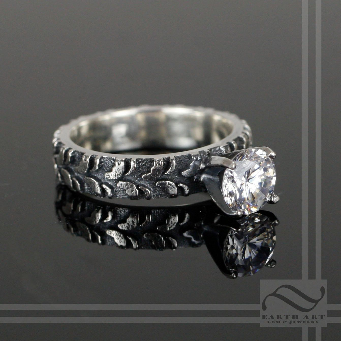 Ladies Narrow Tire Tread Ring with CZ Sterling Silver