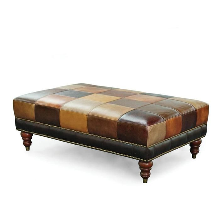 Patchwork Leather Ottoman Coffee Table: Patchwork Cocktail Ottoman