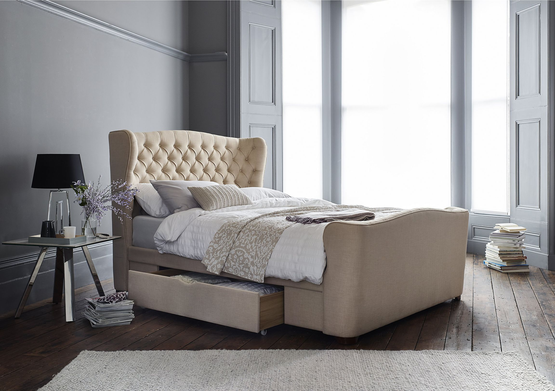 Great value fabric upholstered bed frame with on trend