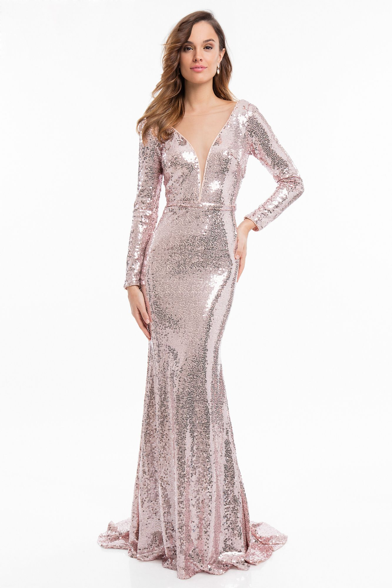 287f1496d03 Sparkle up your evening in the Long Sleeve Cowl Back Fully Sequined Evening  Dress by Terani Couture.