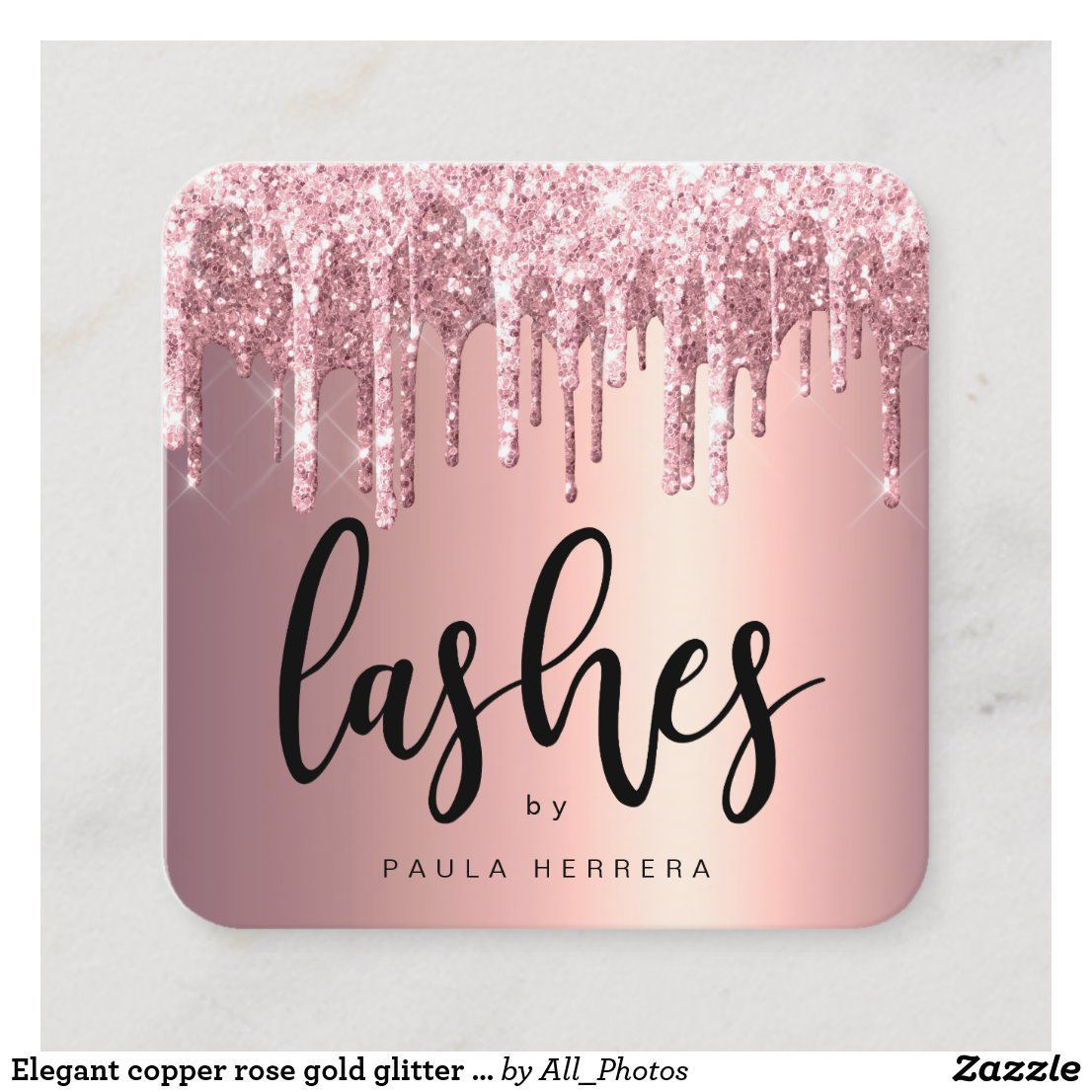 Elegant copper rose gold glitter drips lashes square