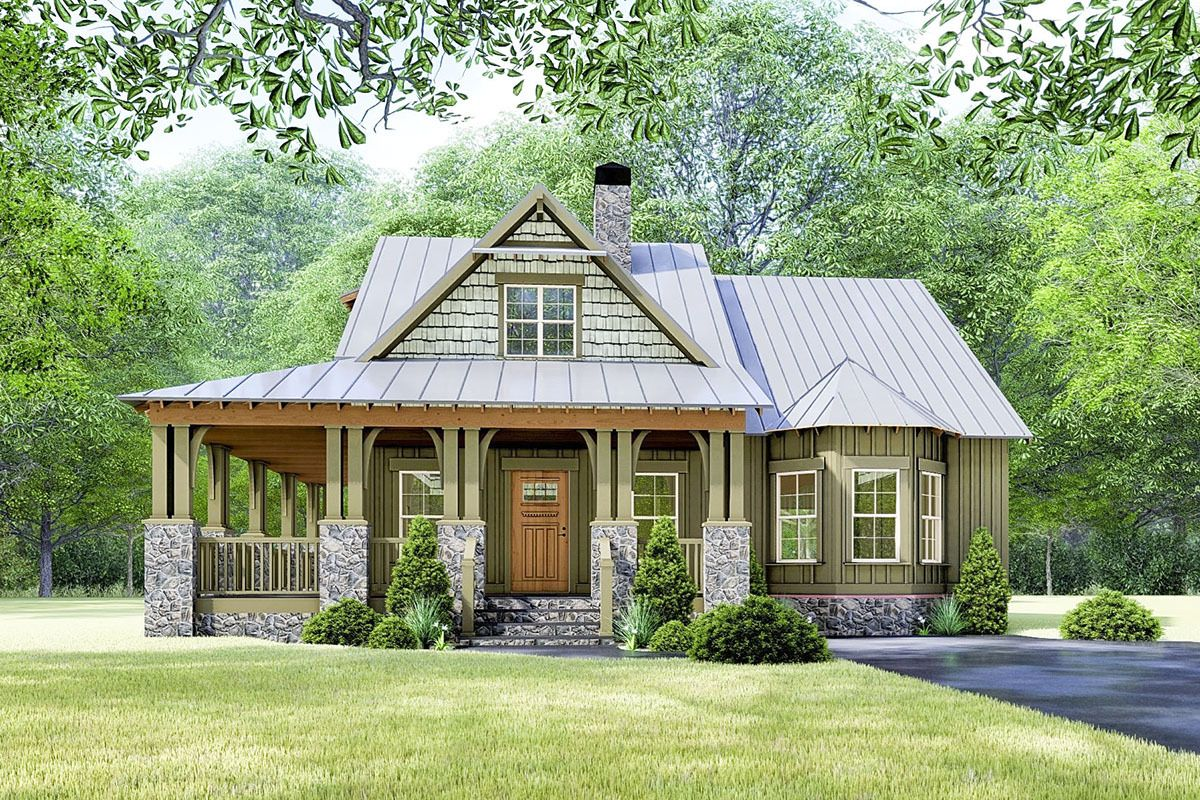 Plan 70630mk Rustic Cottage House Plan With Wraparound Porch Rustic House Plans Cottage House Plans New House Plans
