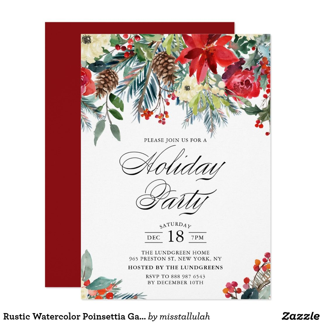 rustic watercolor poinsettia garland holiday party card - Holiday Cards 2017