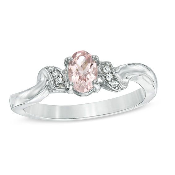 Zales Oval Morganite and 1/15 CT. T.w. Diamond Ring in Sterling Silver rKIvuj