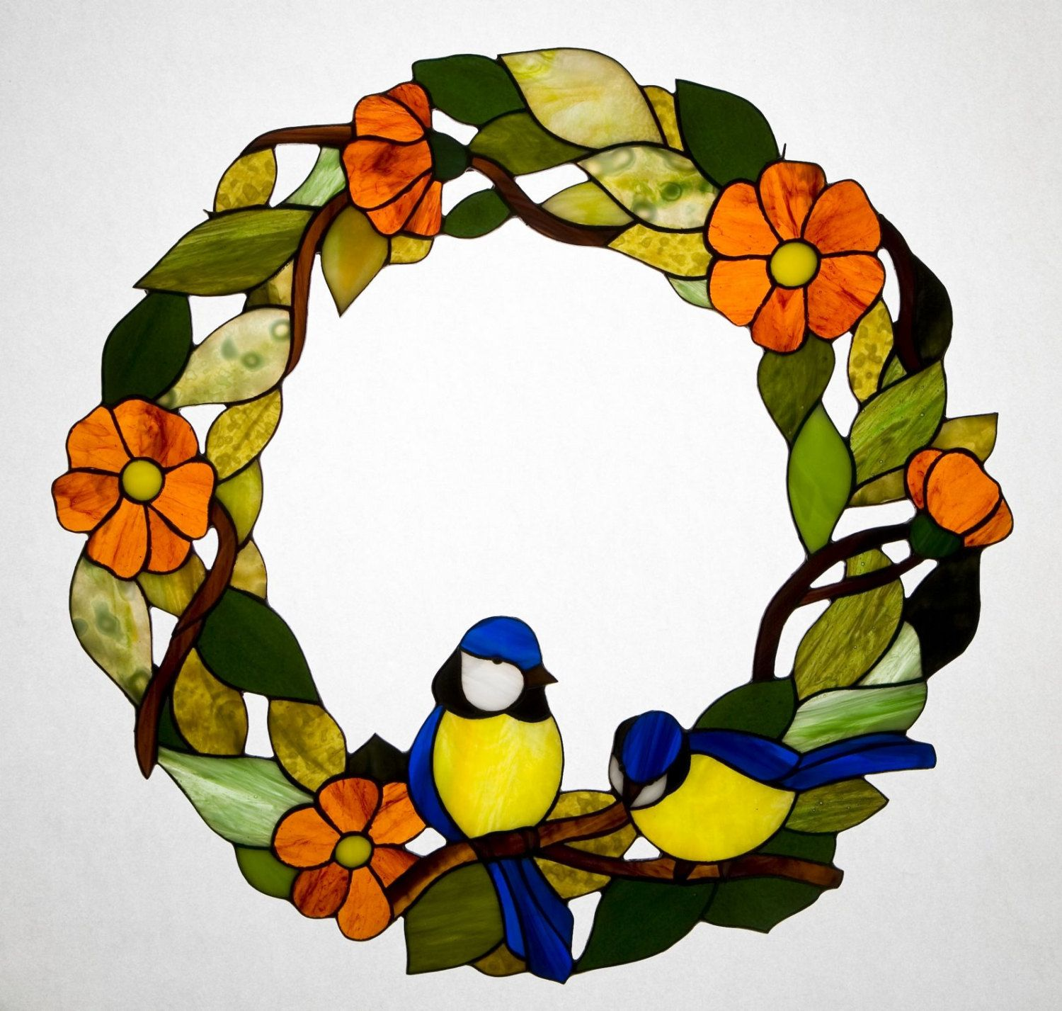 Floral Wreath With Great Tit Stained Glass Suncatcher, Birds Ornament,