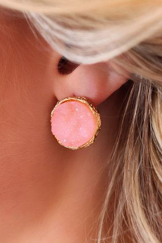 Pink Crystal Stud Earrings | UOIOnline.com: Women's Clothing Boutique
