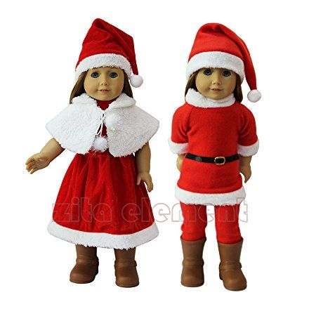 ZITA ELEMENT Doll Clothes- 2 PACK Santa Party Dress Gift Costumes Gown Clothes fit for American's Girl Doll and other 18 inches Doll Clothes for Xmas Gift
