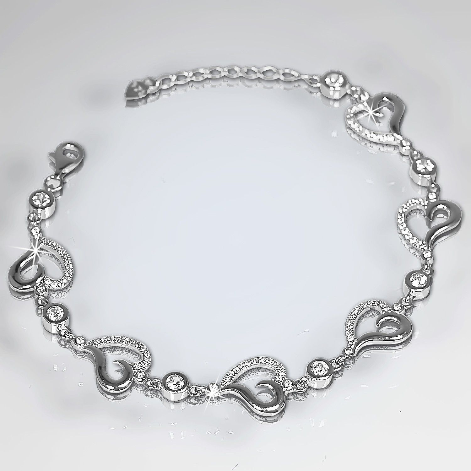 Lovely sterling silver bracelet mystical heart loop design for aed