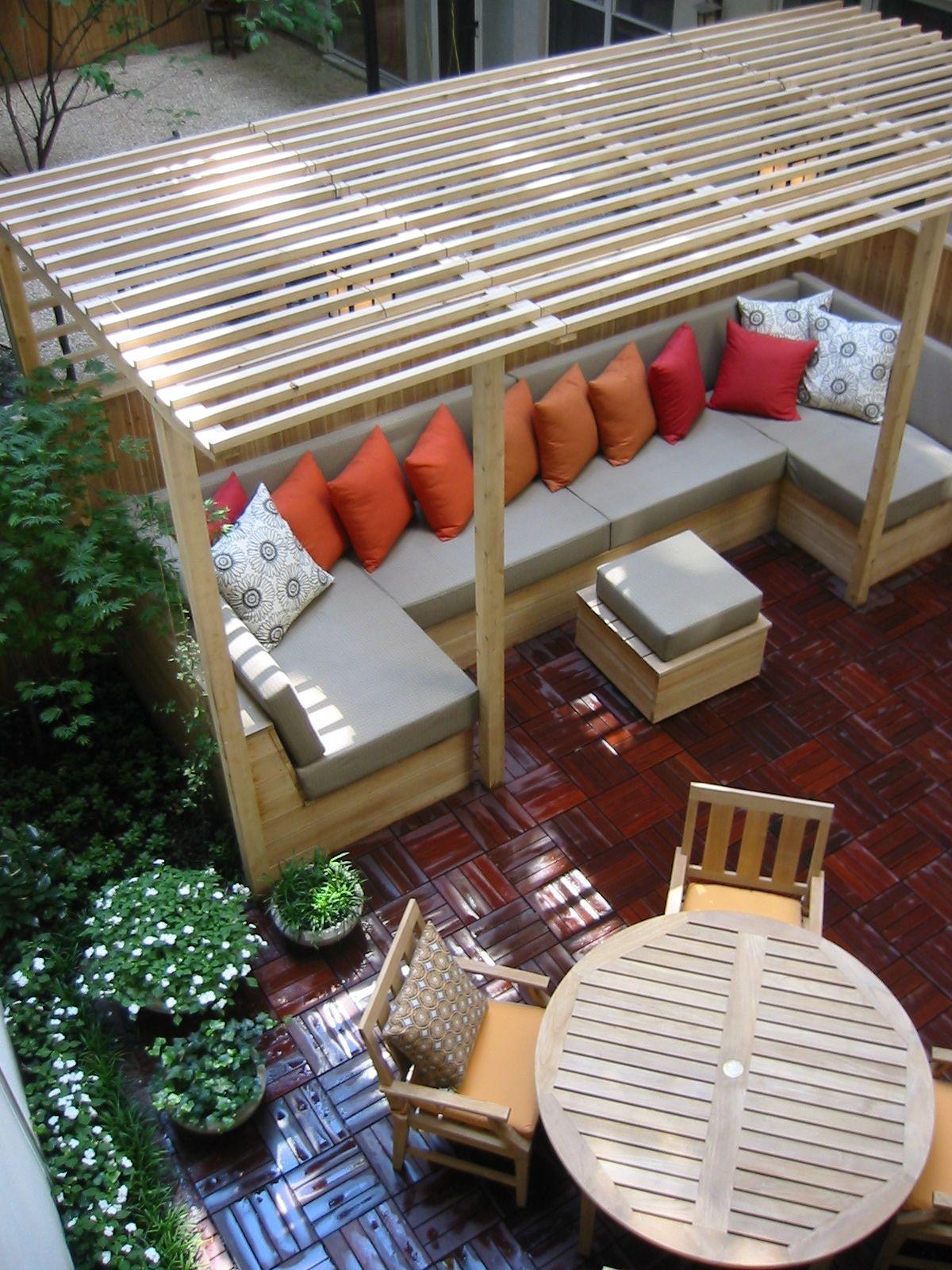 Tribeca hideaway om pergola seating cushions deck