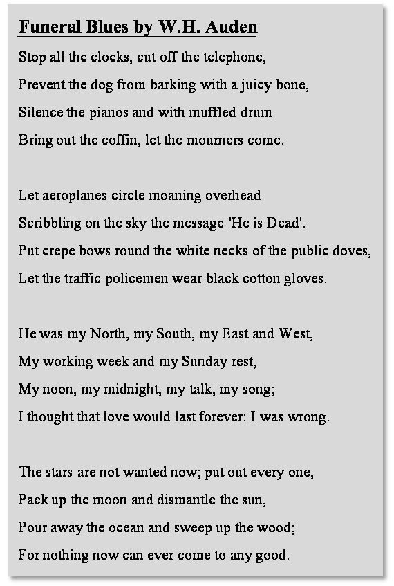 Wh Auden Funeral Blues