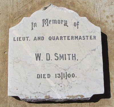 Intombi Memorial Inscription, William Dixon Smith, Lieut Quartermaster of Border Mounted Rifles