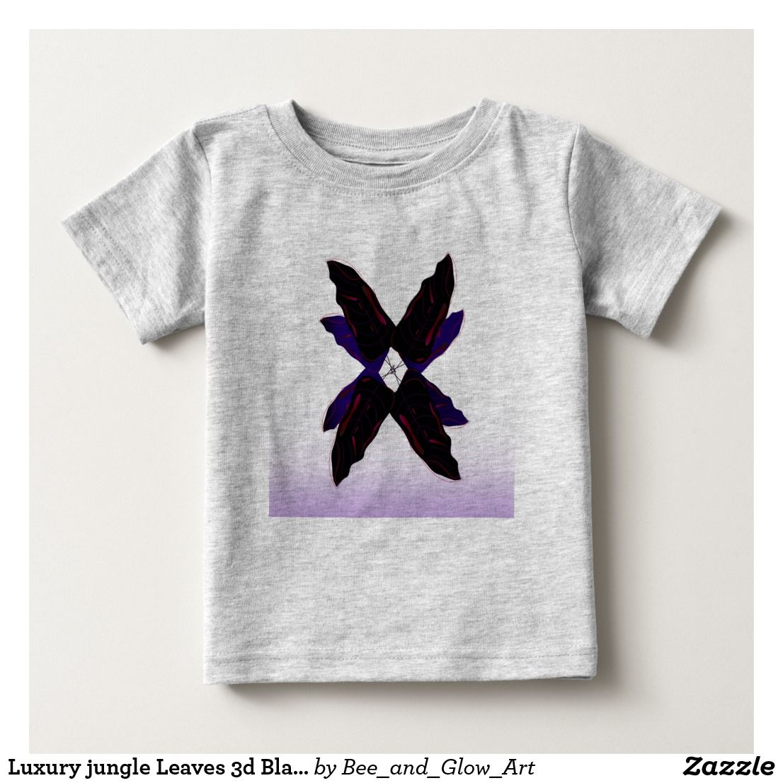 Luxury jungle Leaves 3d Black Baby T-Shirt