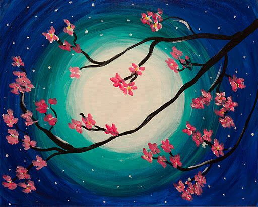 Image result for cherry blossom and moon art