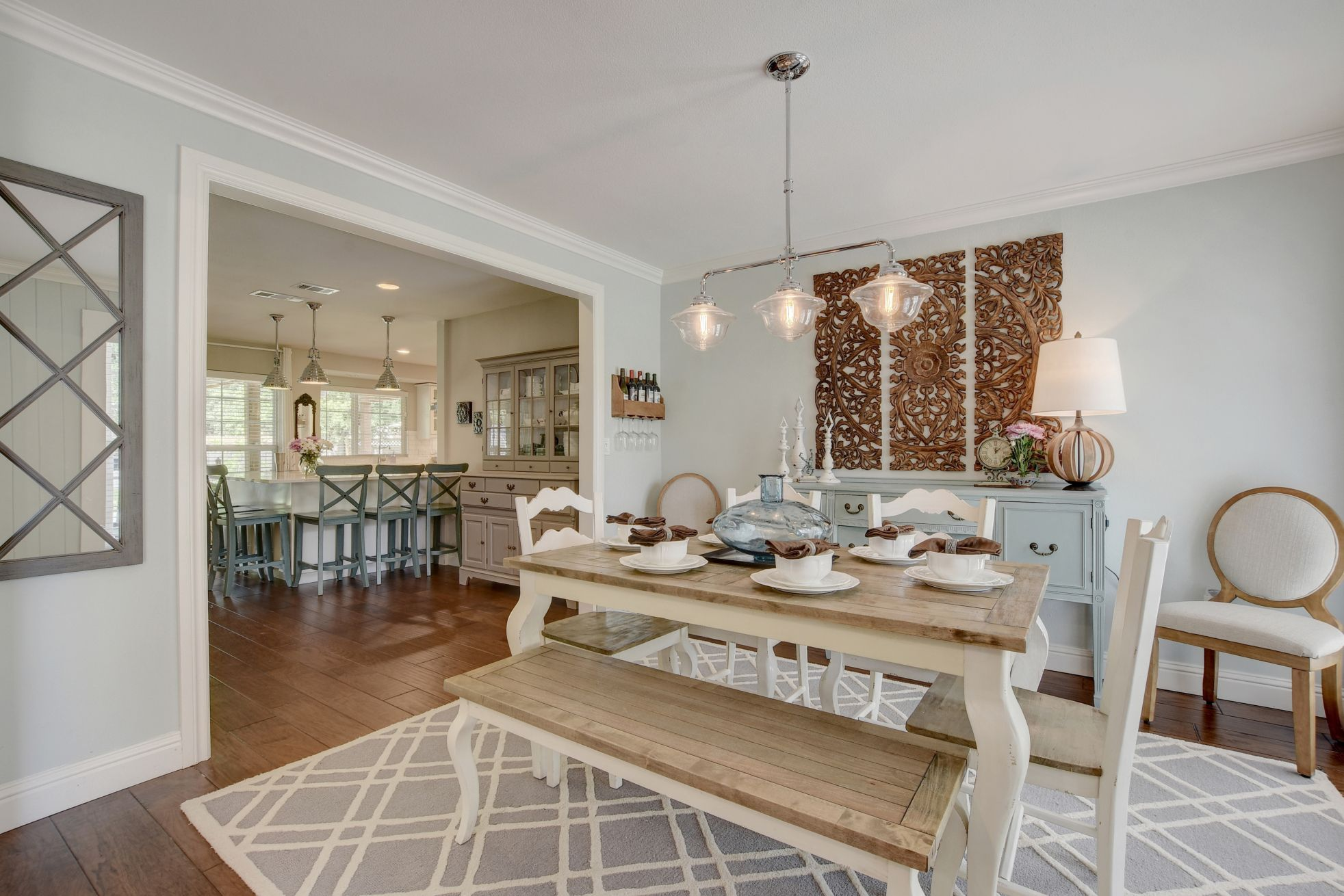 Open Floor Plan Formal Dining Room Sherwin Williams Sea Salt Painted Walls With Benjamin Moore White Do Dining Room Remodel Formal Dining Room Room Remodeling #sea #salt #living #room