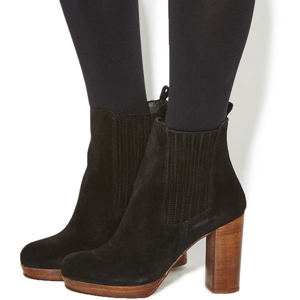 Office Indeed Platform Chelsea Womens Ankle Boots Black Suede
