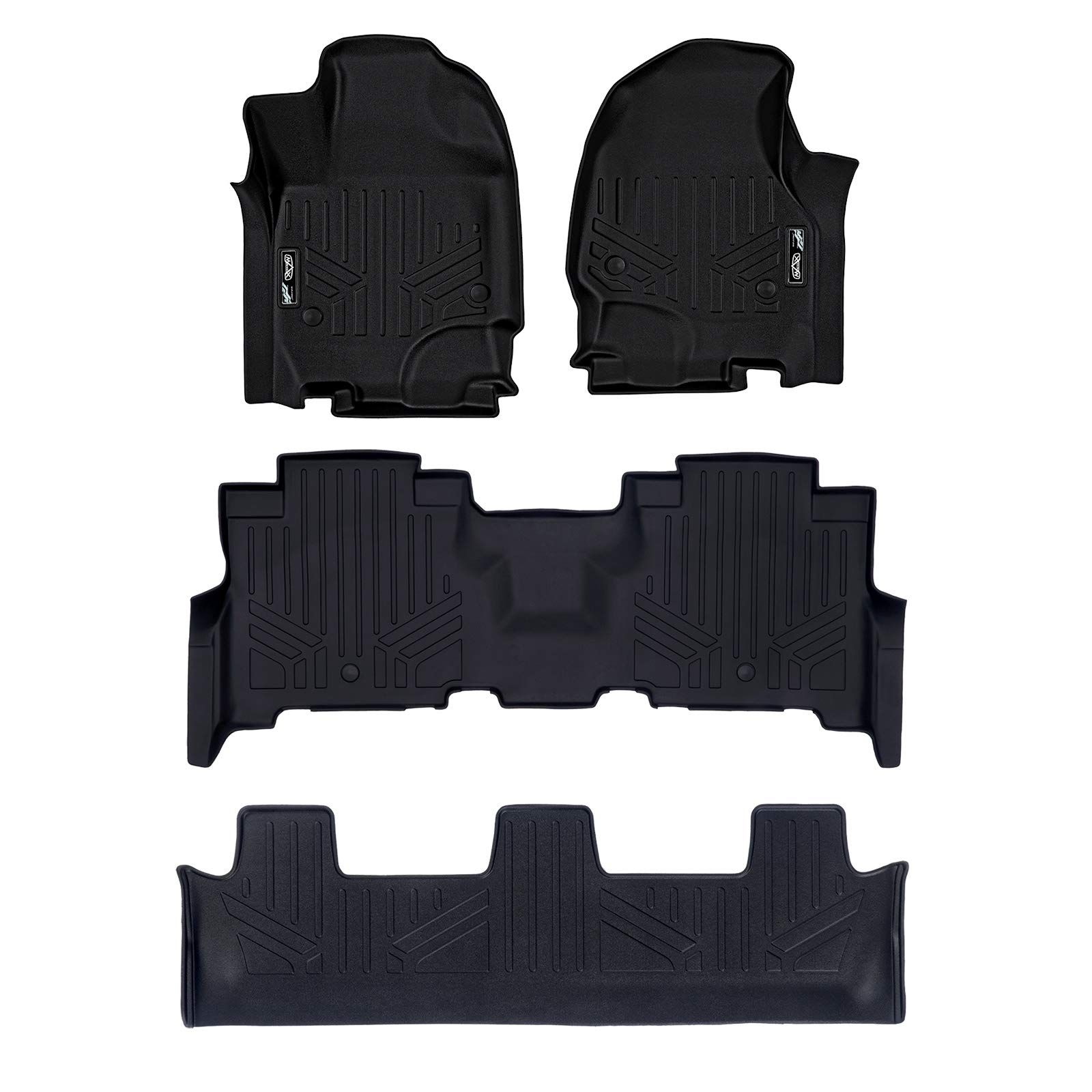 Smartliner Floor Mats 3 Row Liner Set Black For 2018 2019 Ford Expedition Expedition Max With 2nd Row Bench Seat Ford Expedition 2019 Ford Ford