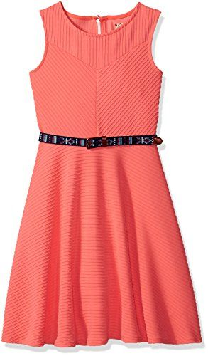 Speechless Big Girls' Textured Knit Belted Skater Dress, Coral, 12. Sleeveless. Belted.