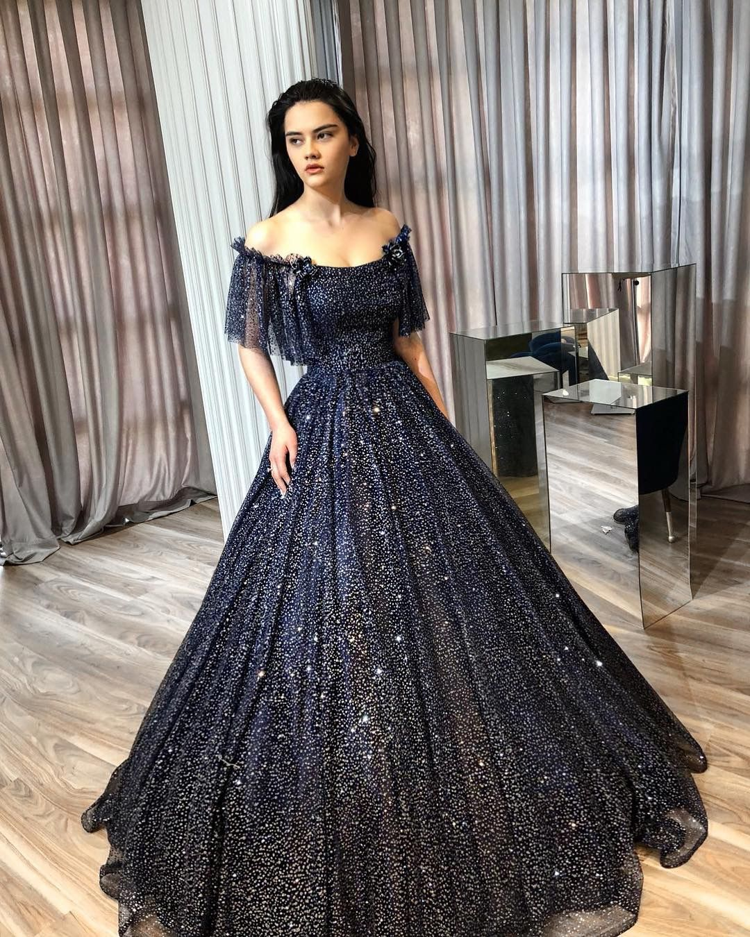 Sparkly Navy Blue Dress By Lena Berisha Starry Night Wedding Inspiration Starry Night Dress Night Dress Prom Night Dress