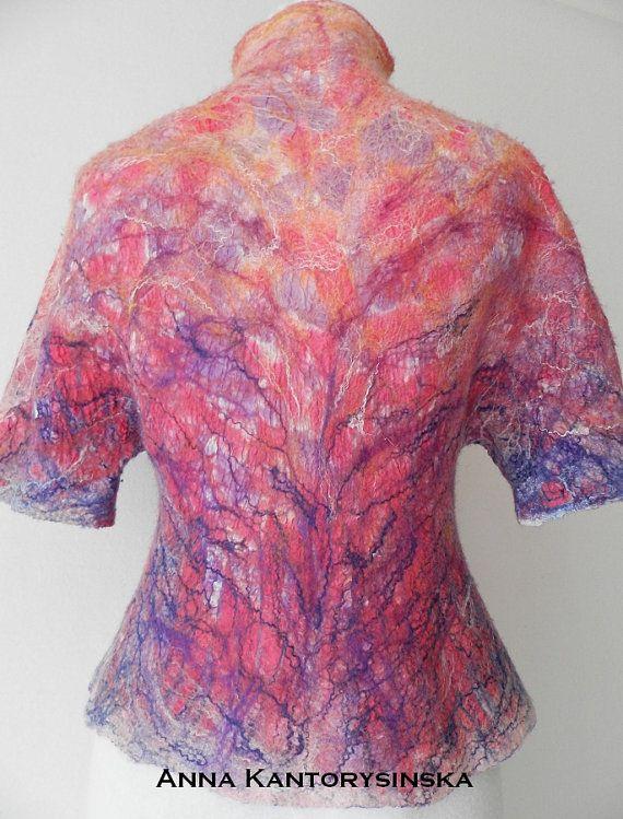 nuno felted silk jacket VANILA SKY handmade art by kantorysinska, $230.00