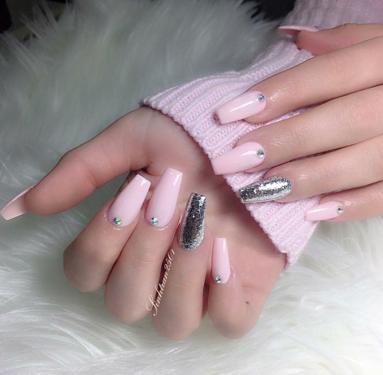 Hair Nails And Style Sinhtran Pink Acrylic Nails Pink Nails Baby Pink Nails