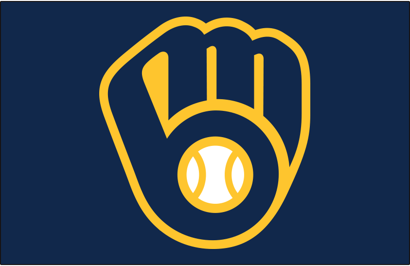 Milwaukee Brewers Cap Logo 2020 Pres Brewers Ball In Glove Logo On Navy Blue Worn As Primary Cap Logo For Both Home An Milwaukee Brewers Brewers Milwaukee