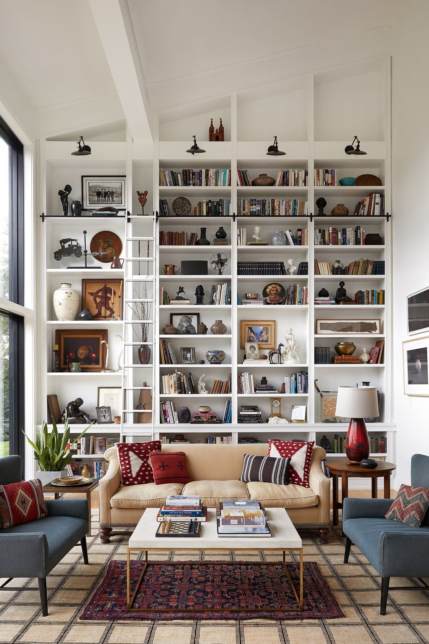 The Home Library Of Your Dreams In 2020 Bookshelves Built In Built In Shelves Living Room High Ceiling Living Room