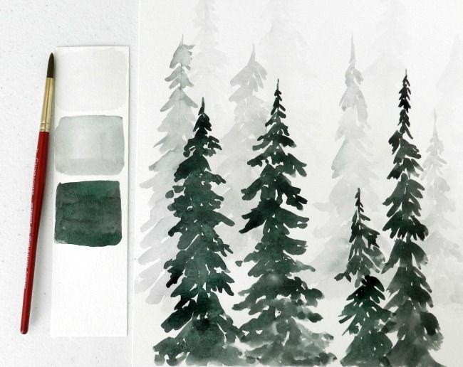 Pine Tree Forest Watercolor Trees Tree Art By Ashbyorgillartco