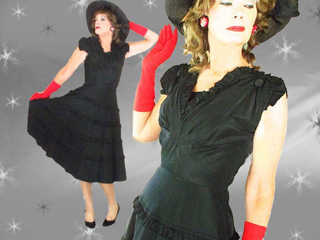 S vintage black taffeta formal dress s big skirt party dress