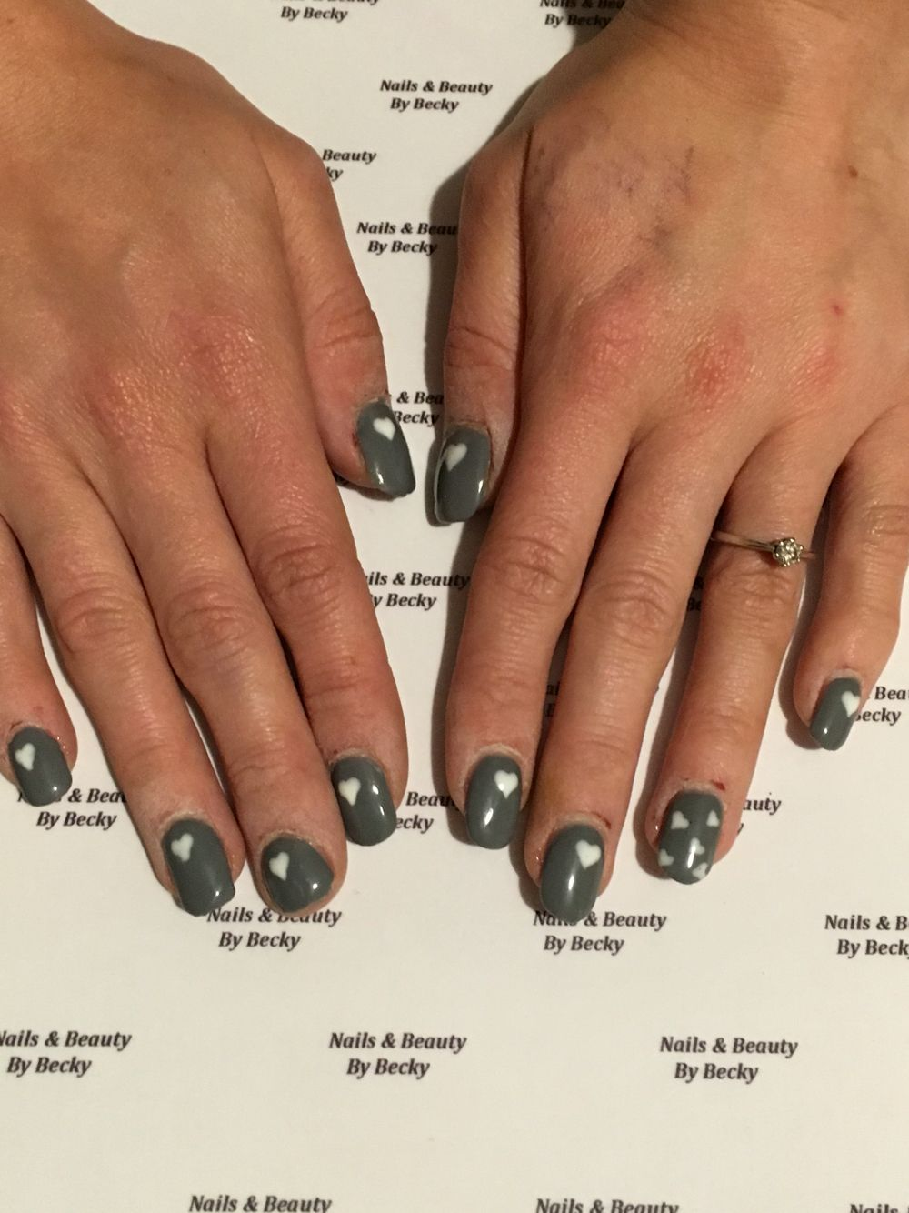 Grey and white hearts, gel polish over acrylic extensions