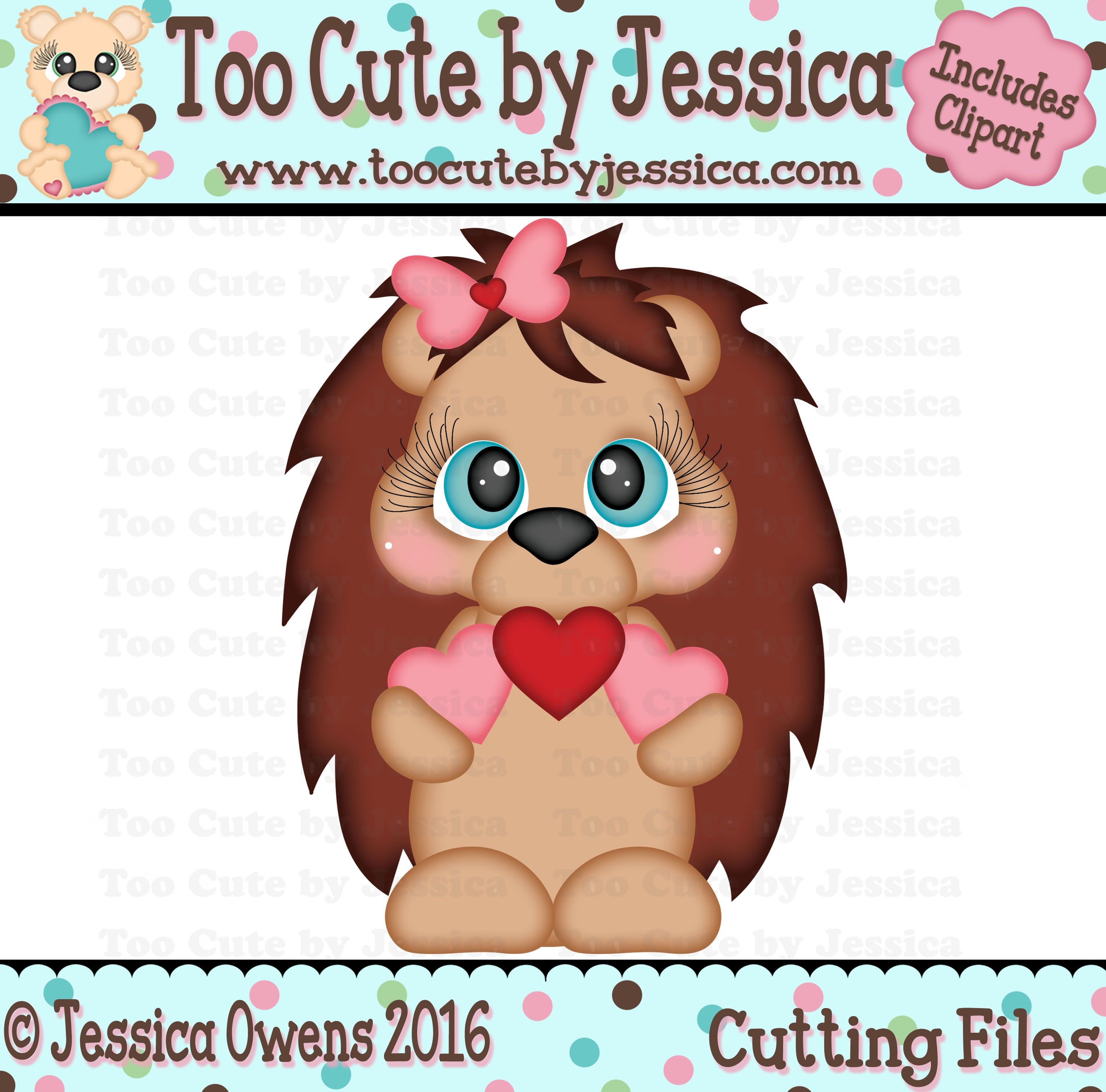 Heart Hedgehog SVGs Too Cute by Jessica Paper crafts