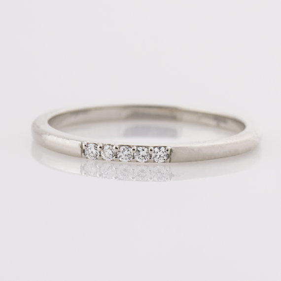 Thin Diamond Ring 14k White Gold Stacking Dainty Five Diamonds Band 5 Stone Stackable Tiny