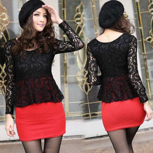 Women Faux Twinset Two Tone Long Sleeve See Through Black #Lace #Mini #Dress