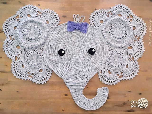 Victoria the Elephant! Crochet rug made by Little Cosy