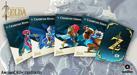 Zelda Themed Champion Amiibo cards 4 set BoTw | Gifts | Cards