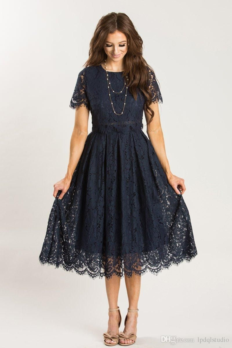 Dark navy lace bridesmaid dresses high quality scoop short sleeves