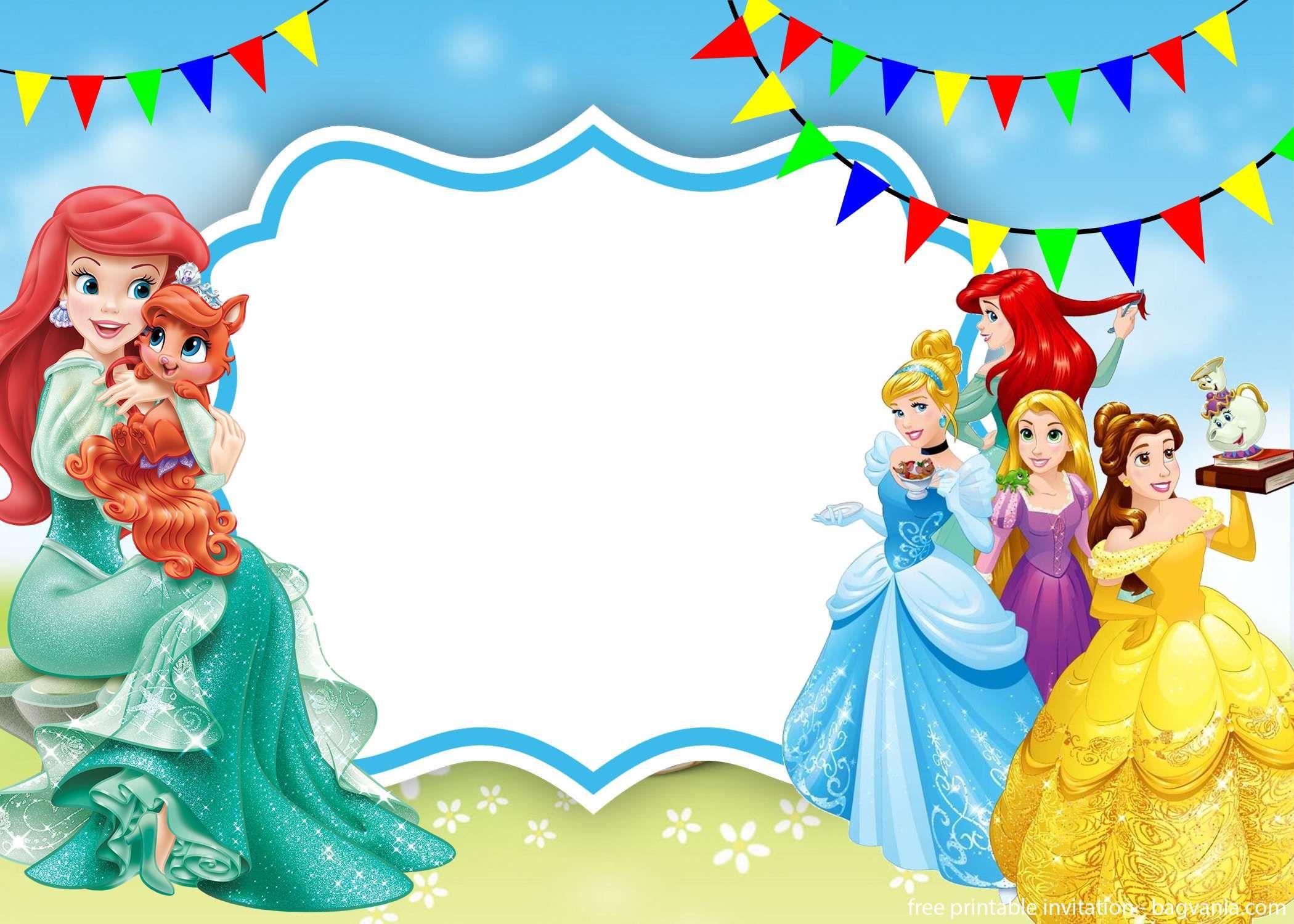 Free Printable Disney Princessess Invitation Template Disney Princess Invitations Disney Invitations Princess Invitations