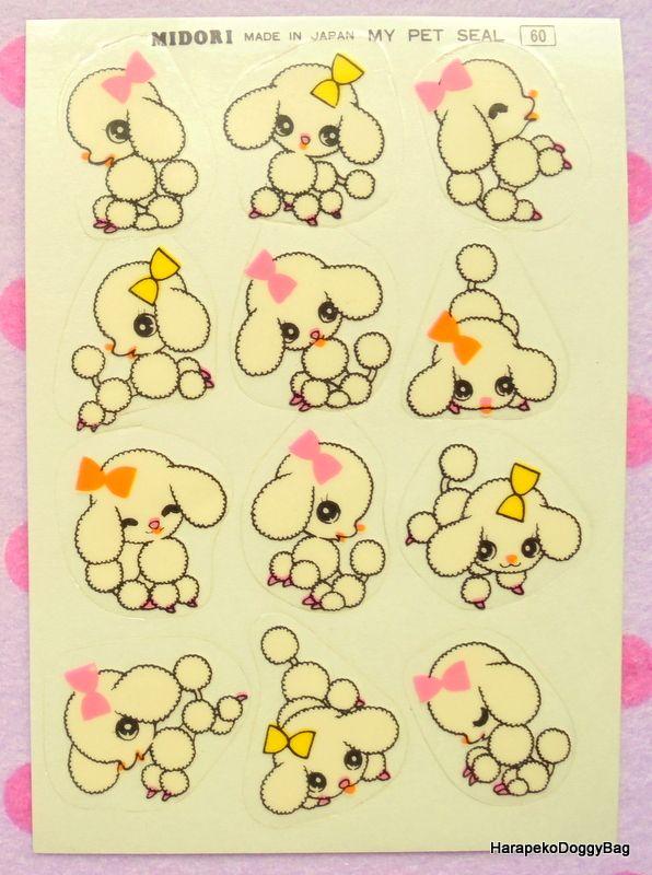 660aad8f13aa Vintage Japanese 1960s : Retro Shojo Girl Stationery : Midori Sticker  Sheets - Kawaii White Poodle Dog : Illustrations by Macoto Takahashi