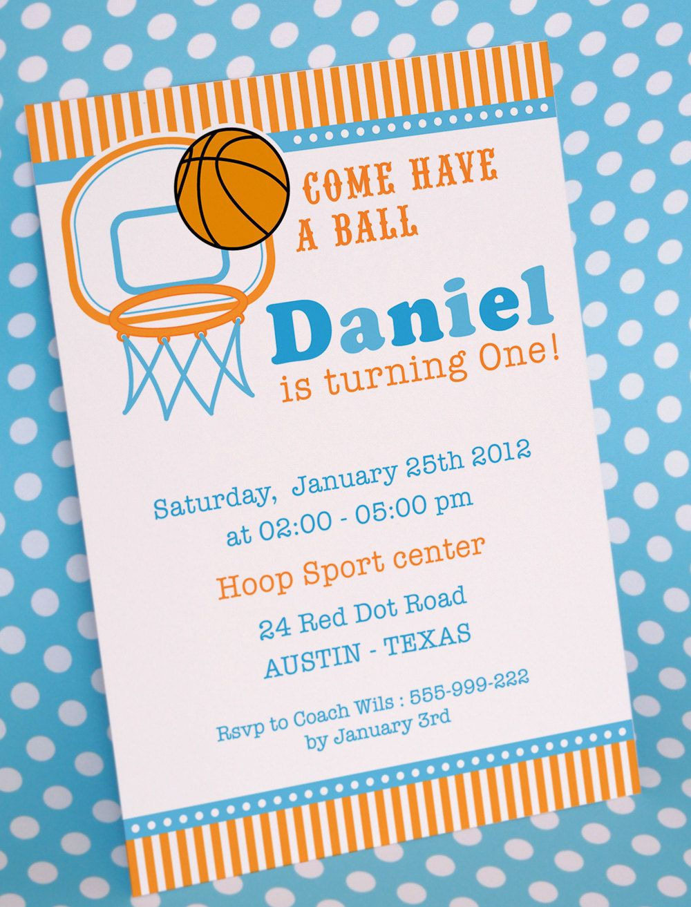 DIY PRINTABLE Invitation Card - Basketball Birthday Party Invitation ...