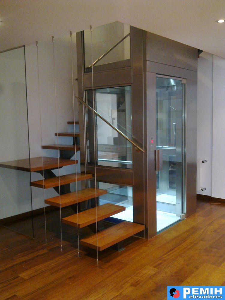 Ascensor panoramico con estructura pemih elevadores i for Huecos de escaleras modernos