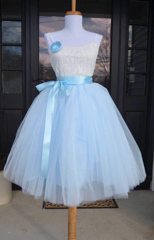 Womens tutu soft baby blue tulle skirt light blue tutu tulle
