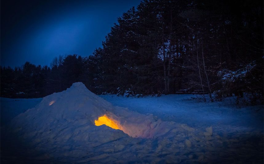 A Quinzie or snow shelter. Once a Quinzie has been built, a candle is lit inside it for 3-4 hours and the warmth melts the interior slightly. It then freezes into a harder shell than before. http://en.wikipedia.org/wiki/Quinzhee  photo from #paulwhybrow Paul Whybrow at paulwhybrowblog.wordpress.com