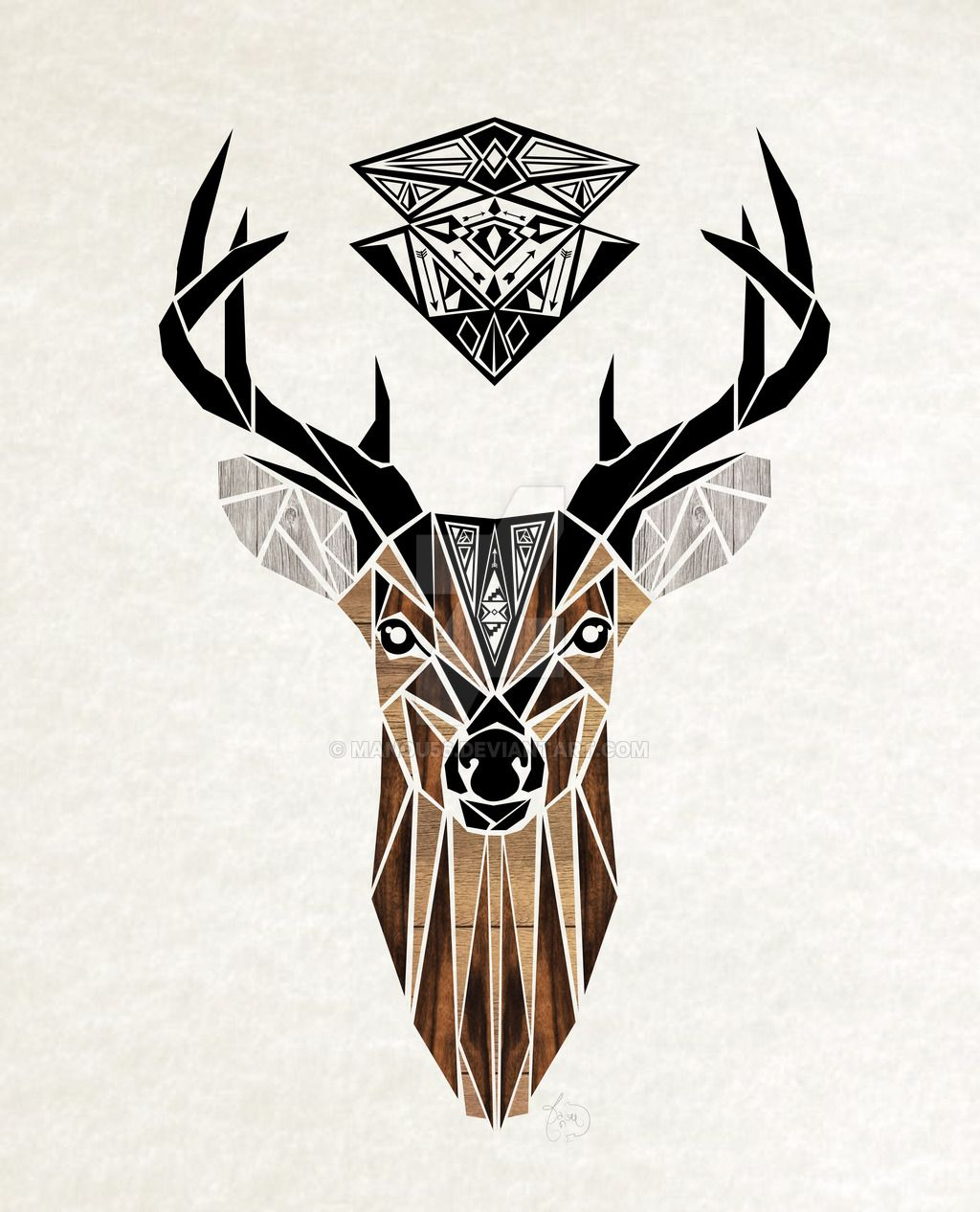geometrical tattoo deer color illuminati deer tatoo cerf