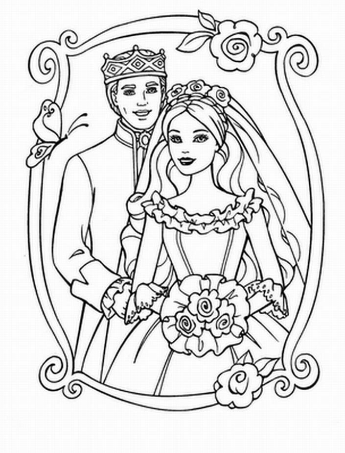 Pin By Jan Kalmus On Coloring Pages Wedding Coloring Pages Barbie Coloring Barbie Coloring Pages