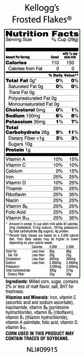 Frosted Flakes Are Gr R Reat Inside Nutrition Label For Frosted Flakes22636 Nutrition Labels Cereal Calories Nutrition Facts