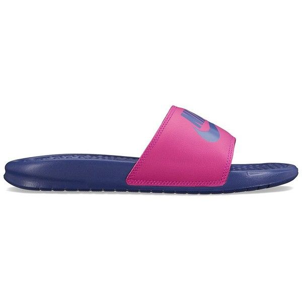 premium selection 6f89c 045e0 Nike Benassi JDI Mismatch Women s Slide Sandals ( 30) ❤ liked on Polyvore  featuring shoes, sandals, purple oth, synthetic shoes, patterned shoes, nike  ...