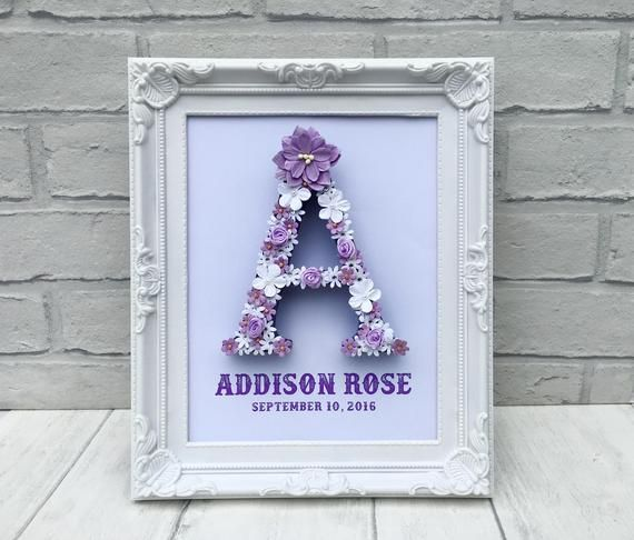 Lavender bedroom decor, Lilac floral letter, Lilac nursery decor, Flower letters, Bedroom decor for her, Goddaughter gifts, New baby nursery