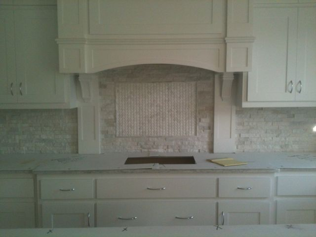 White Stacked Stone Backsplash