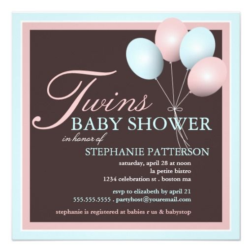 Elegant Baby Balloon Twins Baby Shower Invitation Twins Baby