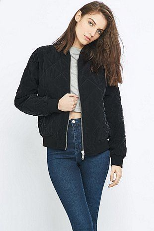 Pins & Needles Quilted Black Bomber Jacket | Awesome stuff, Urban ...